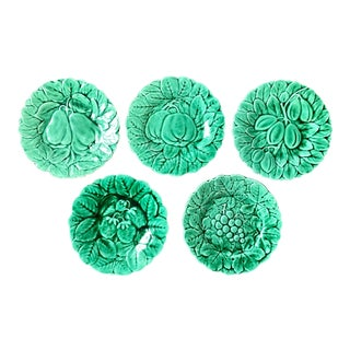 Vintage Green French Majolica Fruit Plates- Set of 5 For Sale