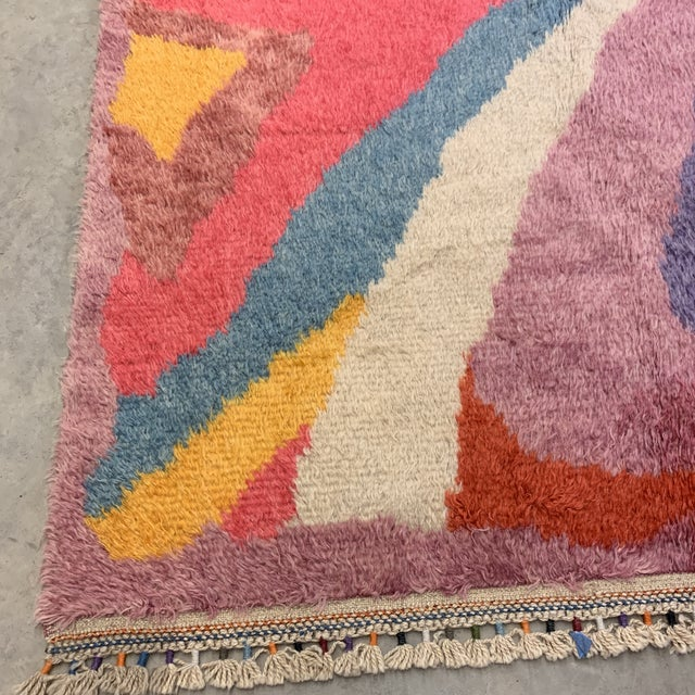 """Textile Turkish Moroccan-Style Geometric Shag Rug - 7'7x10'6"""" For Sale - Image 7 of 12"""