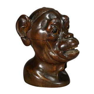 A Wooden Carved Lidded Box in the Shape of an Ape For Sale