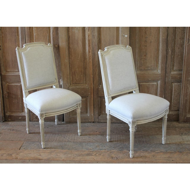 Early 20th Century Louis XVI Style Painted and Upholstered Childs Chairs - a Pair For Sale - Image 9 of 13