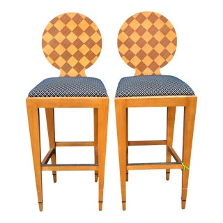 Donghia - Pair of Paris Hall Modern Designer Bar Stools by Angelo Donghia For Sale