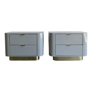 1980s High Polish Laminate and Brass Nighstands - a Pair For Sale