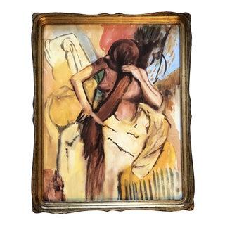 Vintage Original Watercolor Painting After Degas Bathers For Sale