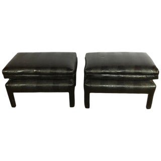 Pair of Alligator or Crocodile Faux Leather Cushioned Foot Stools or Benches For Sale