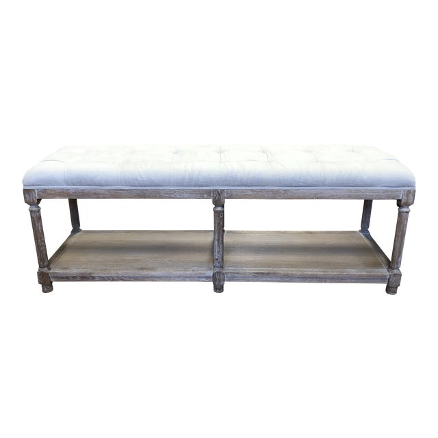Ballard Designs Saverne Tufted Bench For Sale