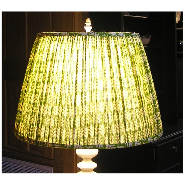 New, Made to Order, Green and Cream Cotton Printed Fabric, Pleated/Gathered Lamp Shade - Image 4 of 4