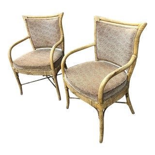 Ferguson Copeland Rattan Arm Chairs With Target Back and Zebra Fabric a Pair For Sale