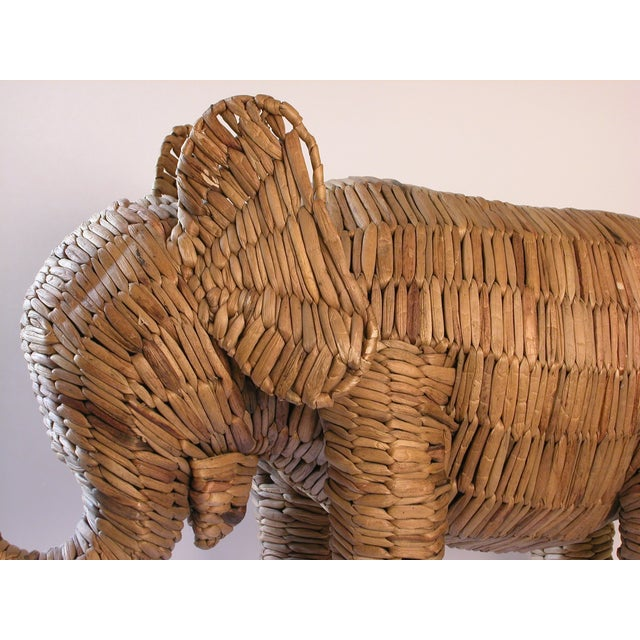 Vintage Large Seagrass Elephant - Image 6 of 7