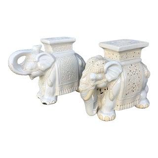 Mid-Century Modern White Porcelain Elephant Garden Stools - a Pair