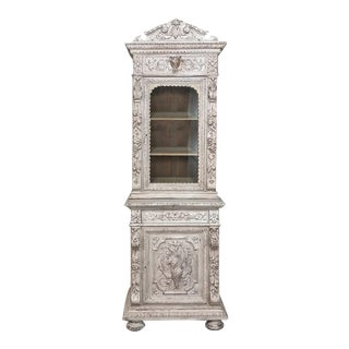 19th Century French Renaissance Painted Hunt Bookcase Buffet a Deux Corps For Sale