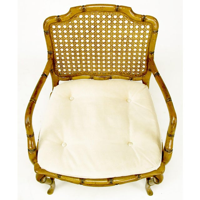 White Bamboo-Form Cabriole Leg Cane Back Armchair For Sale - Image 8 of 9