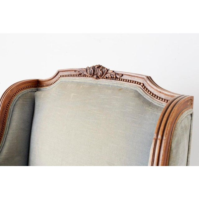 Textile Pair of French Louis XVI Style Walnut Bergère a Oreilles For Sale - Image 7 of 13