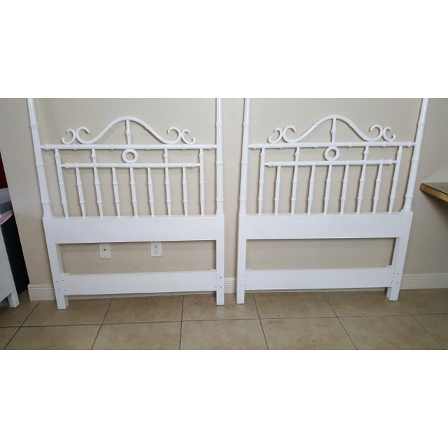 Faux Bamboo Vintage Kensington by Drexel Twin Faux Bamboo Headboards - a Pair For Sale - Image 7 of 8
