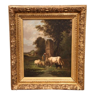 19th Century Oil on Canvas Cow Painting in Carved Gilt Frame Signed A. Cortes