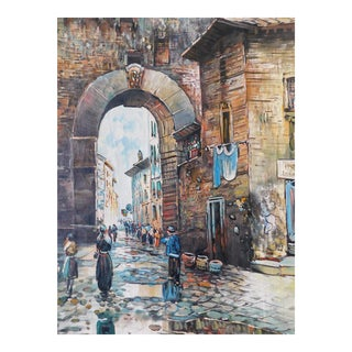 Italian Oil Painting on Canvas For Sale