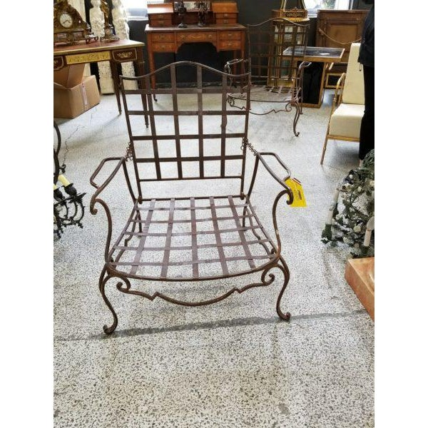 Pair of Classic 1940's JC Moreux Wrought Iron Chairs – Allows Reclining Position With Adjustable Chain.