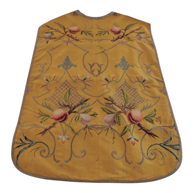 Gold and Yellow Embroidered Antique Chasuble For Sale