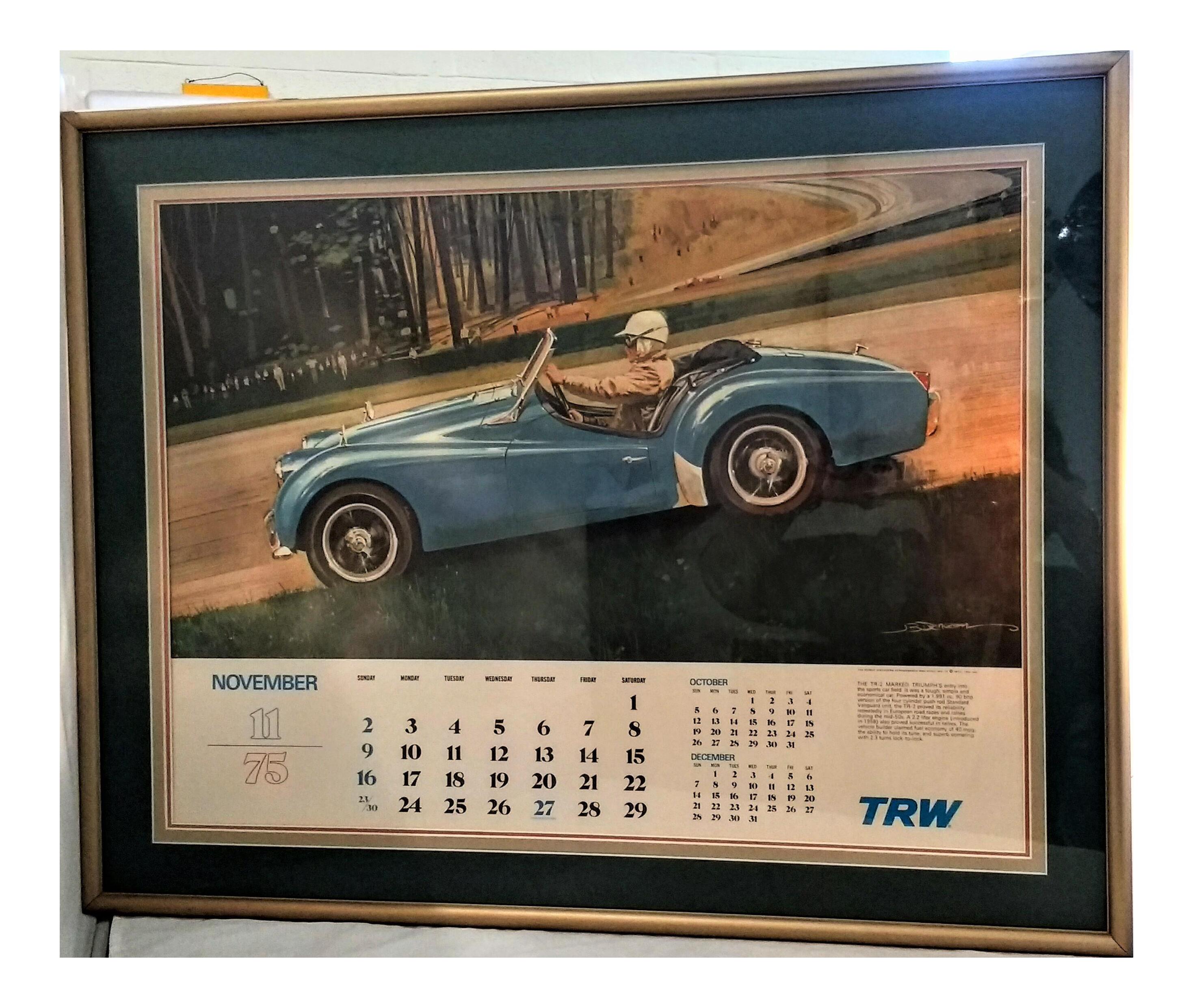 vintage race car poster triumph tr2 1975 calendar
