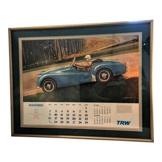 Vintage Race Car Poster. Triumph Tr-2 1975 Calendar. Framed & Matted
