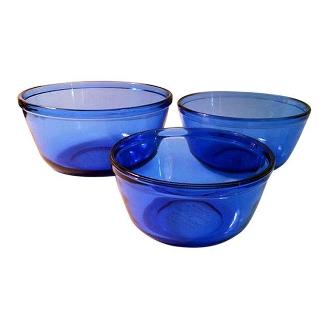 Vintage Anchor Hocking Cobalt Blue Glass Mixing Bowls - Set of 3 For Sale