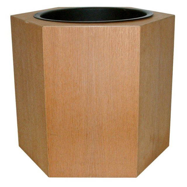 Circa 1970s Paul Mayen Hexagonal Oak and Aluminum Planter - Image 7 of 7