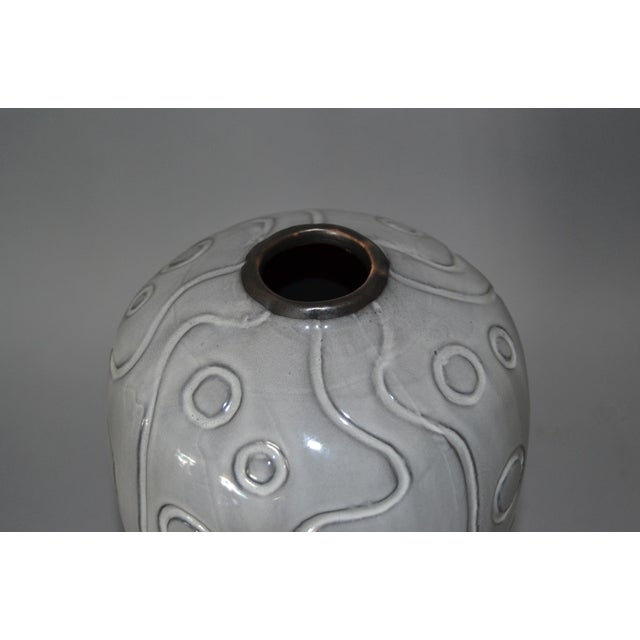 Modern Glazed Pottery Gray Vase For Sale - Image 4 of 9