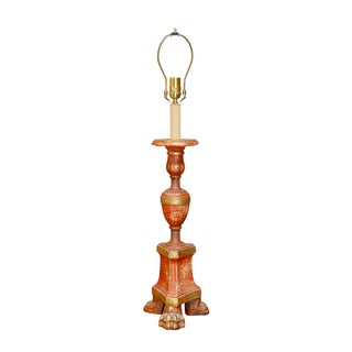 Faux Wood Altar Candlestick Table Lamp For Sale