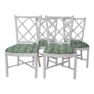 1980s Vintage Lacquered Diamond Rattan Chairs- Set of 4 For Sale