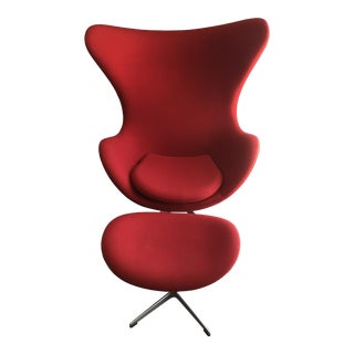 Design Within Reach Red Egg with Ottoman - 2 Pieces For Sale