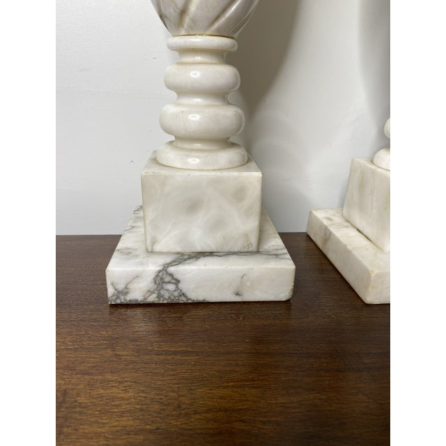 Neoclassical Antique Early 20th Century Neoclassical Marble Lamps - a Pair For Sale - Image 3 of 9