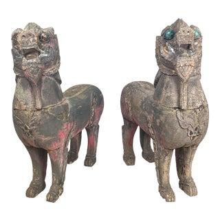 Temple Lions, Se Asia 19th Century, a Pair For Sale
