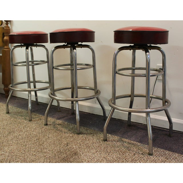Mid Century Modern Swivel Bar Stools -- Set of 3 - Image 3 of 11
