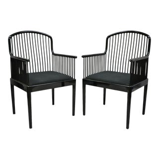 Black Lacquer Modern Andover Arm Chairs by Davis Allen for Stendig-a Pair For Sale