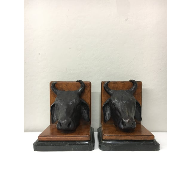 Maitland - Smith Vintage Maitland Smith Bull Bookends - a Pair For Sale - Image 4 of 5