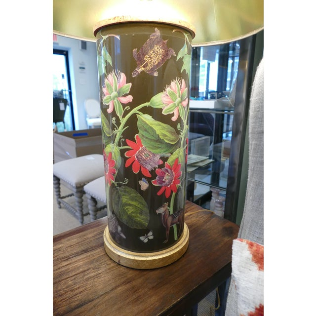 Decoupage Flower Lamp With Green Painted Shade For Sale - Image 4 of 12