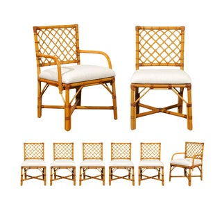 Superb Restored Set of Eight Vintage Rattan and Cane Lattice Back Dining Chairs For Sale