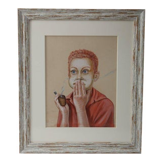 """""""Young Boy With a Corn Cob Pipe"""" Original Pastel Painting on Paper Rudyard Kipling For Sale"""