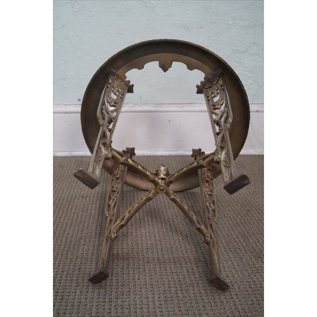 Art Deco Antique Brass & Glass Round Side Table - Image 7 of 10