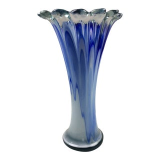1960s Large Trumpet Vase in Shades of Blue For Sale