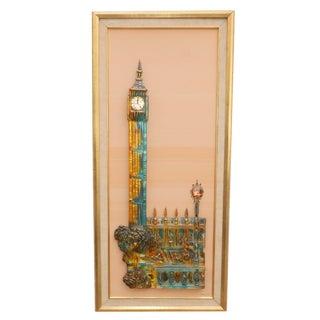 Mid-Century Z. Danjell Resin Framed Sculpture of European City Scene For Sale