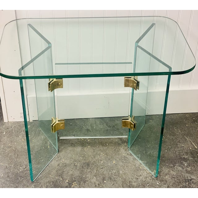 Vintage Glass Side Tables With Gold Hardware For Sale - Image 4 of 4