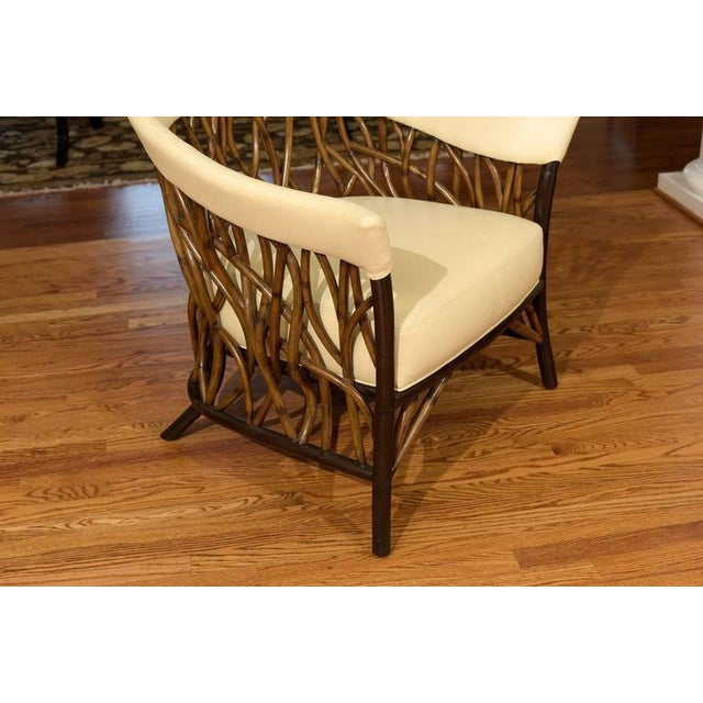 Brown Stunning Pair of Rattan Club Chairs in Parchment Leather For Sale - Image 8 of 9