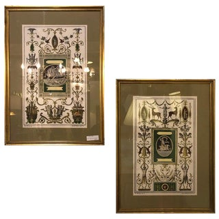 Pair of Italian Engravings Signed Gio Ma Calsini in Gilt Frames For Sale