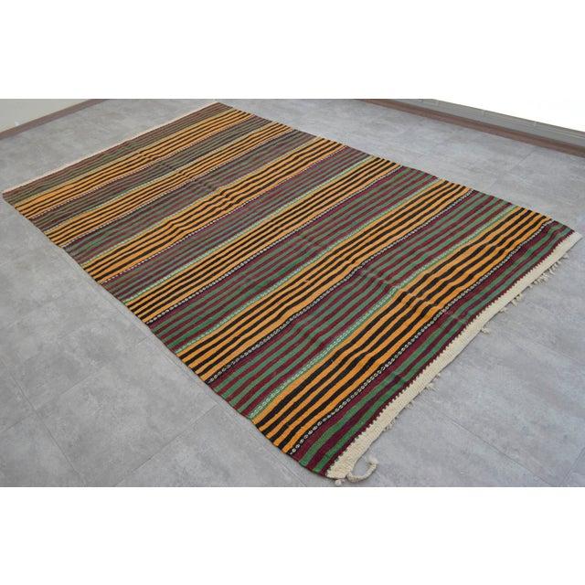 Hand-Woven Kilim Rug Striped Area Rug - 5′11″ X 9′8″ - Image 2 of 8
