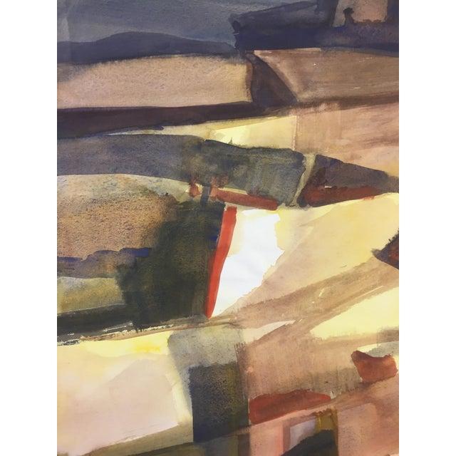 """Thelma Corbin Moody (1908-1986) Modesto, CA AbEx Landscape c.1970s Gouache on Paper 24""""x18"""" Unsigned come form a portfolio..."""