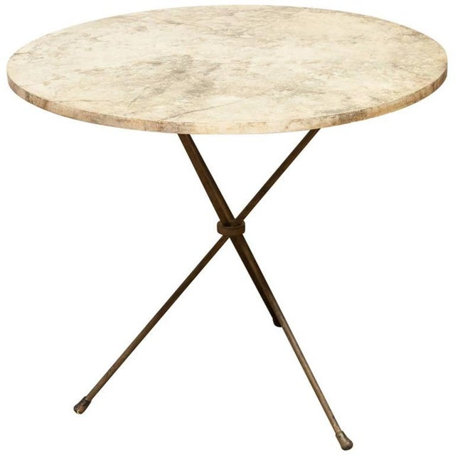 French Mid-Century Faux Marble Tripod Drink Table - Image 1 of 6