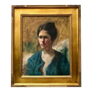 Vintage American Impressionist Oil Painting Portrait of a Woman by Harry Barton For Sale