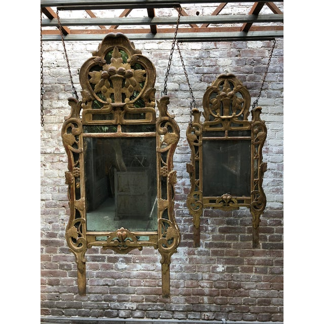18th Century Louis XV Carved Gilt Wood Mirrors, Exceptionnel Set of Three. For Sale - Image 10 of 13