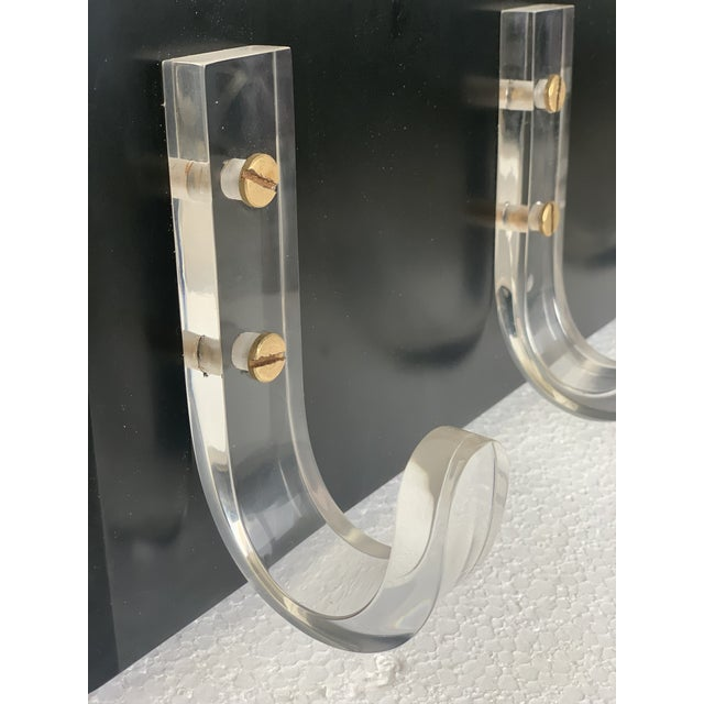 Black Mid-Century Modern Ebonized Coat Rack With Three Lucite Hangers, 1950, Italy For Sale - Image 8 of 11