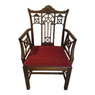 Vintage Mid Century Chinese Chippendale Arm Chair For Sale